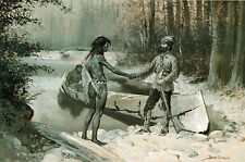 Frederic Remington, Fur Trade, antique, Native American,WESTERN, 16x10 ART PRINT