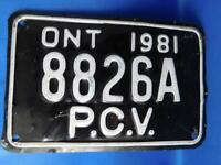 ONTARIO LICENSE PLATE PCV  1981 8826 A VINTAGE CANADA SHOP GARAGE MAN CAVE SIGN