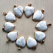 Natural white turquoise gold side heart shape Pendants 10pcs/lot Wholesale