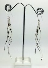 Swirly Textured Long Drop earrings, solid Sterling Silver, new, UK Seller