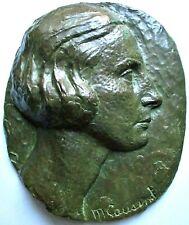 """Sculpture bas relief """" Femme"""" Bronze par Cousinet Art Déco Cire perdue Valsuani"""