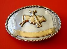 Vintage Western Cowboy Bullrider Nickel Silver Belt Buckle