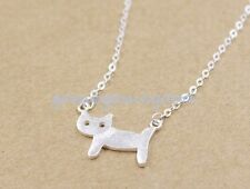 Cat Kitten Party Lady Necklace Jewelry 925 Sterling Silver - Chic Korea Brushed