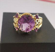 Heng Ngai Amethyst 10k Yellow Gold Ring Heart Shape Cut out Twist Rope Sz 9.5