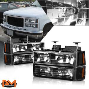 For 94-00 GMC C/K Suburban GMT400 Bumper Headlight Black Housing Amber Corner
