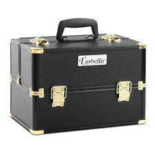 Portable Cosmetic Beauty Makeup Lockable Carry Case Storage Box - Black Gold