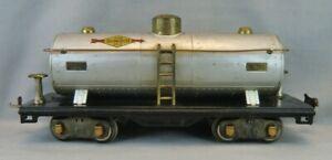 Vintage Lionel 1937 Standard Scale #515 Silver Sunoco Tank Car - Copper Trim