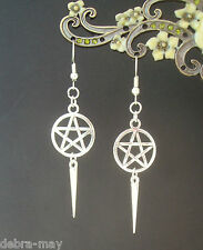 Gothic Pentagram Spike Charm Dangly Drop Earrings - Witch Pagan
