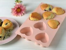 KATIE ALICE Cottage Flower 8 CUP Heart Shaped Pink Silicone MUFFIN MOULD Tray
