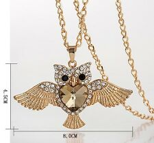Women Necklace Flying Owl Diamond Heart Crystal Pendant Sweater Chain Fly