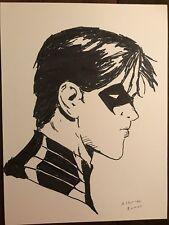 "DC Comics Nightwing Original Comic Art Sketch By Artist Alberto Ramos - 9"" X 12"""