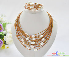 P5213 15row 13mm white rice freshwater pearl coffee leather necklace & bracelet