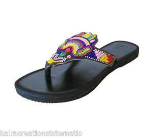 Indian Women Slippers Traditional Handmade Designer Beaded Flip-Flops US 6-10