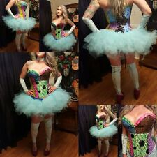 Sally inspired corset couture costume,Halloween,EDM, Cosplay,Rave, Sz L