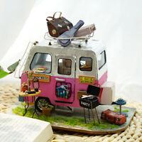 Rolife DIY Miniature Dollhouse Wooden Furniture LED Kits Toy Girls Happy Camper