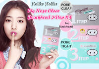3X HOLIKA HOLIKA Pig-nose Clear Black Head MASK 3 Step Kit /Korea Cosmetics UK