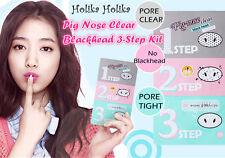 3X HOLIKA HOLIKA Pig-nose Clear BlackHead MASK 3 Step Kit /Korea Cosmetics UK