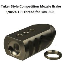 Stainless Steel 308 Tanker Style Muzzle Brake 5/8x24 Thread, Stainless Washer