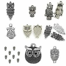 10 x Tibetan Silver Owl Mixed Pendant Charms