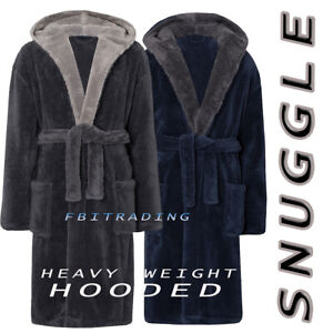 Mens GENTS  Dressing Gown HEAVY Suggle Fleece  Hooded Lounge ROBE EXTRA  WARM