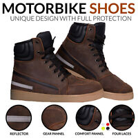 Motorbike Leather Boots Motorcycle Casual Sneaker Shoes Waterproof Touring Boots