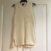 J Crew White Cable Knit Sleeveless Jumper Size Xxs