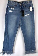 ASHLEY MASON Women's Jeans Size 28 Destroyed Med Wash Frayed Hem Ankle NWT