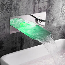 Wall Mounted LED Chrome Brass Waterfall Bathroom Basin Faucet Sink Mixer Taps