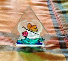 BUTTERFLY TEA LIGHT HOLDER PAINTED STAINED GLASS