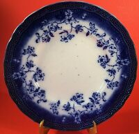 "LEBERTAS PRUSSIA FLOW BLUE PLATE LIBERIAS  SCALLOPED FLORAL 9 1/4"" ANTIQUE"