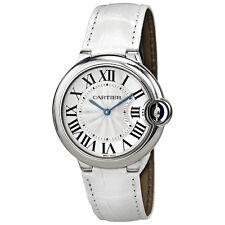 Cartier Ballon Bleu Silver Dial White Leather Ladies Watch W6920087