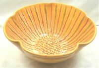 """Bev Freeburg Northwest Art Pottery 10"""" Bowl  Hand Thrown Orange Green Red"""