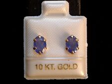 Exclusive Tansanit Ohrstecker - 7 x 5 mm - 10 Kt. Gold - 417 - Ohrringe Oval Cut