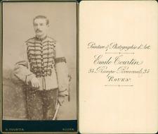 Tourtin, Rouen, Militaire en uniforme clair à brandebourgs, circa 1880 CDV vinta