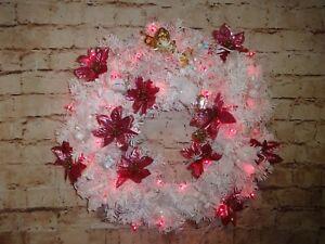 "22"" Pre-Lit White Pine Artificial Christmas Wreath Metallic Pink Lights Angel"