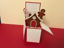 Hand made Christmas pop up card GINGERBREAD HOUSE design