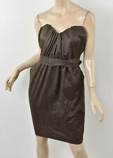 ALL SAINTS Spitalfields Doe Brown JESSAMINE CORSET DRESS Tie-Waist Paperbag M 10
