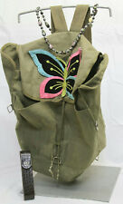 Green Canvas Backpack, Leather Slim Reading Glasses Case & Cloisonne Necklace