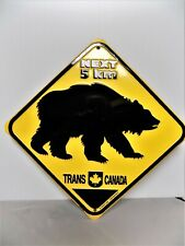 """Next 5 Km Bear Crossing Trans Canada Embossed Metal Sign 10"""" X 10"""" Very Good"""