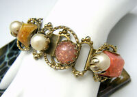 Bold Vintage Glitter Confetti Lucite Chunk Bracelet Faux Pearls Gold Tone