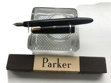 PARKER DUOFOLD 14CT GOLD NIB FOUNTAIN PEN  BOXED EXCELLENT