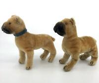 Steiff Sarras Boxer Dog x 2 Mohair Plush 17cm 7in 1950s no ID Vintage Leg Issue