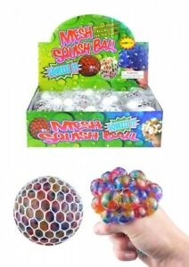 3 x 8.5cm Squishy Mesh Net Ball With Colour Beads Relief Stress Ball Squishy