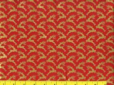 Metallic Gold Reindeer on Red Christmas Quilting Fabric by Yard #3038