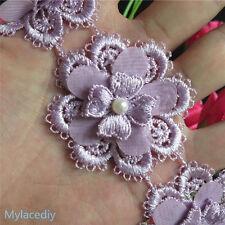 1yd Flower Heart Pearl Lace Edge Trim Vintage Wedding Ribbon Applique Sewing DIY
