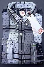NWT Lacoste LIVE Men's Skinny Fit Flour/Black Cotton Casual Shirt S Eur 38