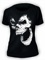 Skull T-Shirt SCREENPRINTED Womens Goth Rock Punk Horror Vampire gothic ladies
