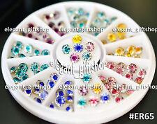 #ER65  Nail Art Tips Decoration 4mm 6 Color Cone Shape Glitter Rhinestones