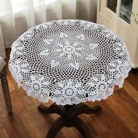 White Cotton 32'' Round Handmade Crochet Lace Table Cloth Doily Doilies G14