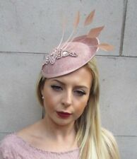 Rose Gold Nude Silver Feather Saucer Disc Hat Races Hair Fascinator Wedding 5668